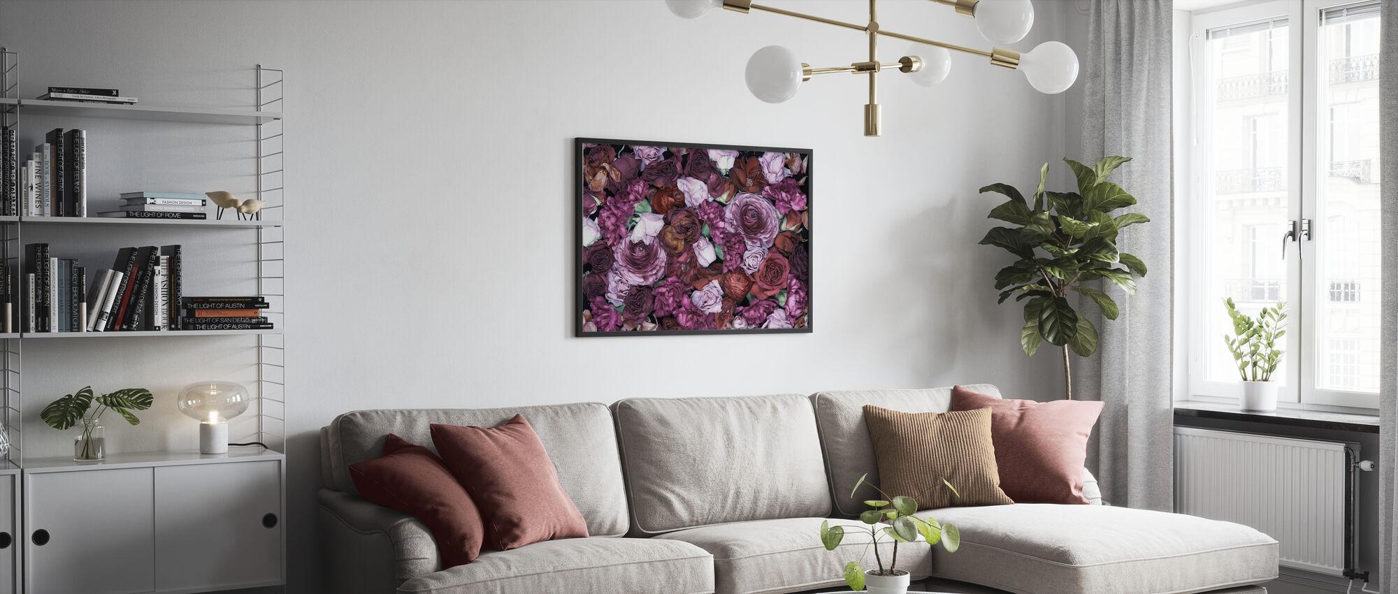 Dark Theme Flowers - Poster - Living Room