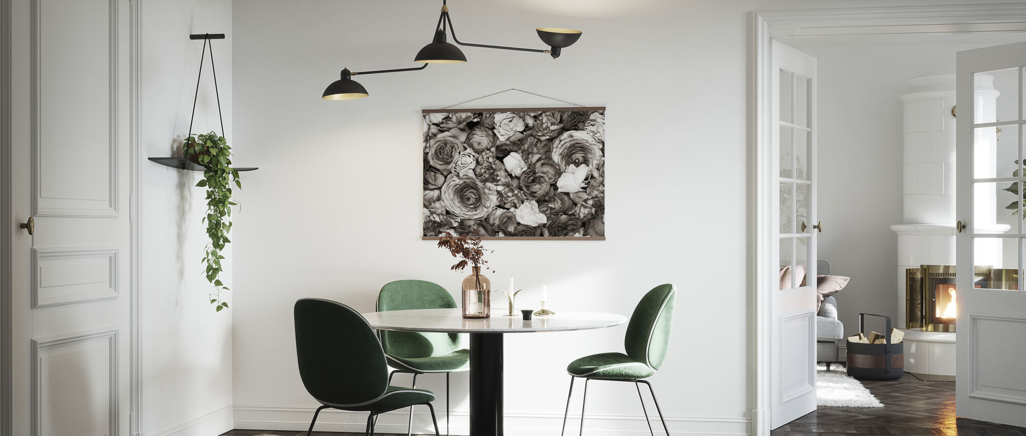 Black and Whtie Flowers - Poster - Kitchen