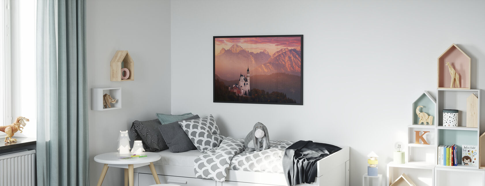 Red Morning Above the Castle - Poster - Kids Room