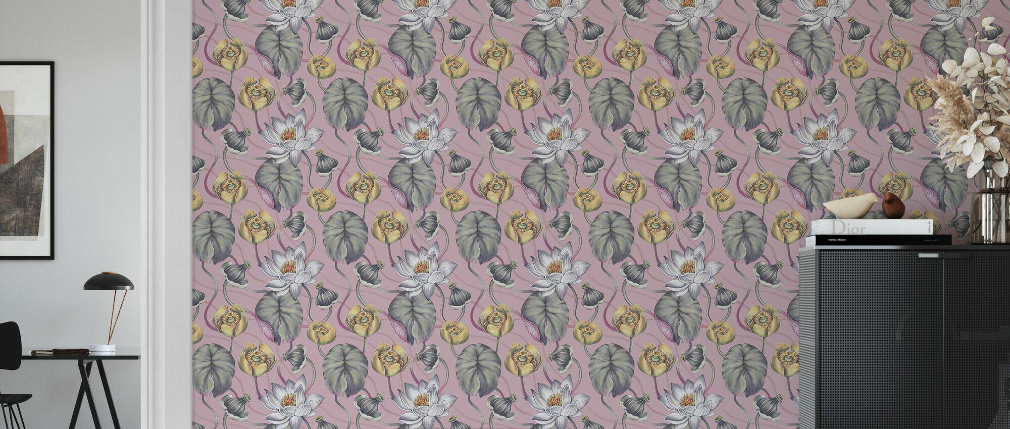 Die Lilie Pond Rosa - Tapete - Wohnzimmer