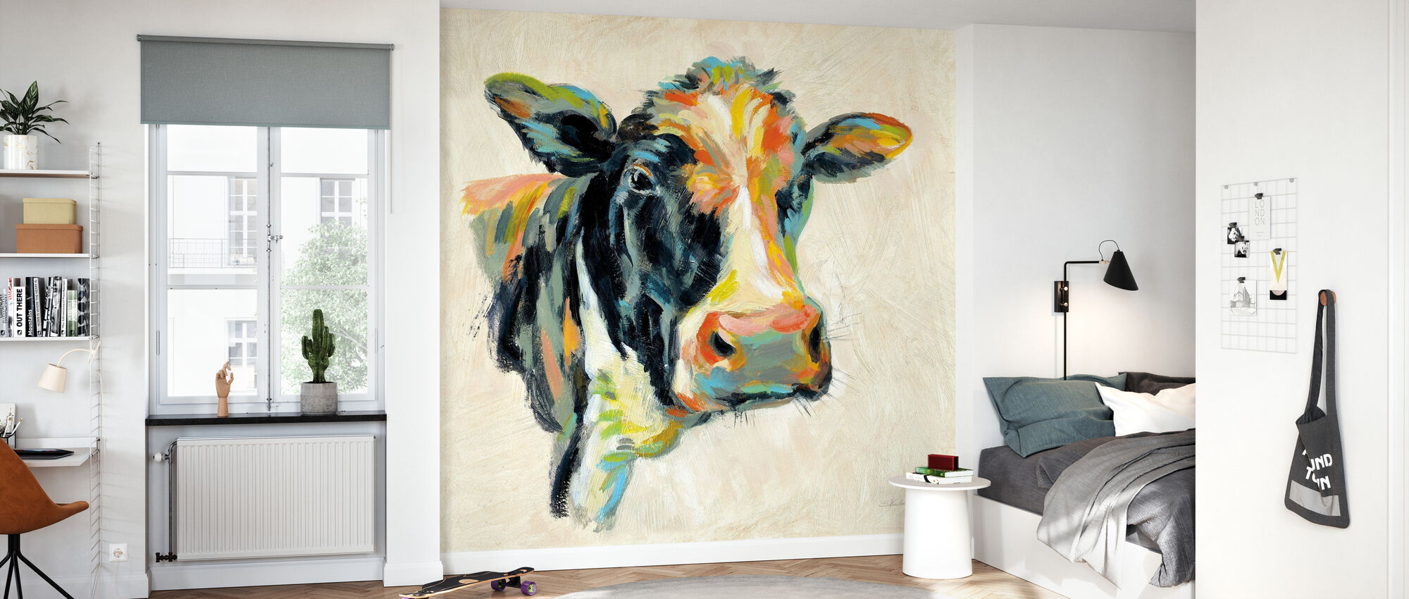 Expressionistic Cow I - Wallpaper - Kids Room