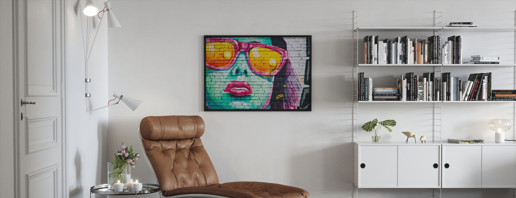 Mural Av Kvinnens Ansikt - Innrammet bilde - Stue