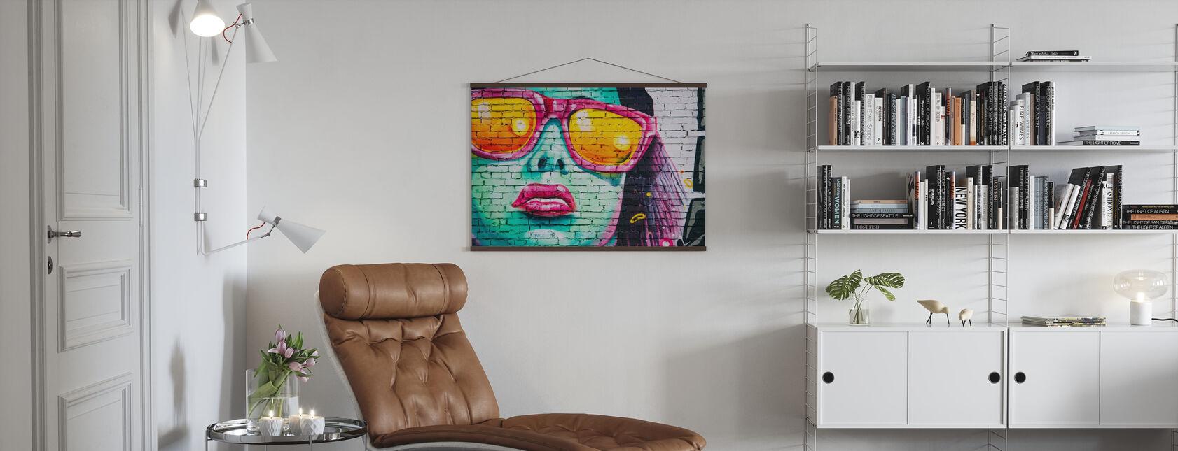 Mural Av Kvinnens Ansikt - Plakat - Stue