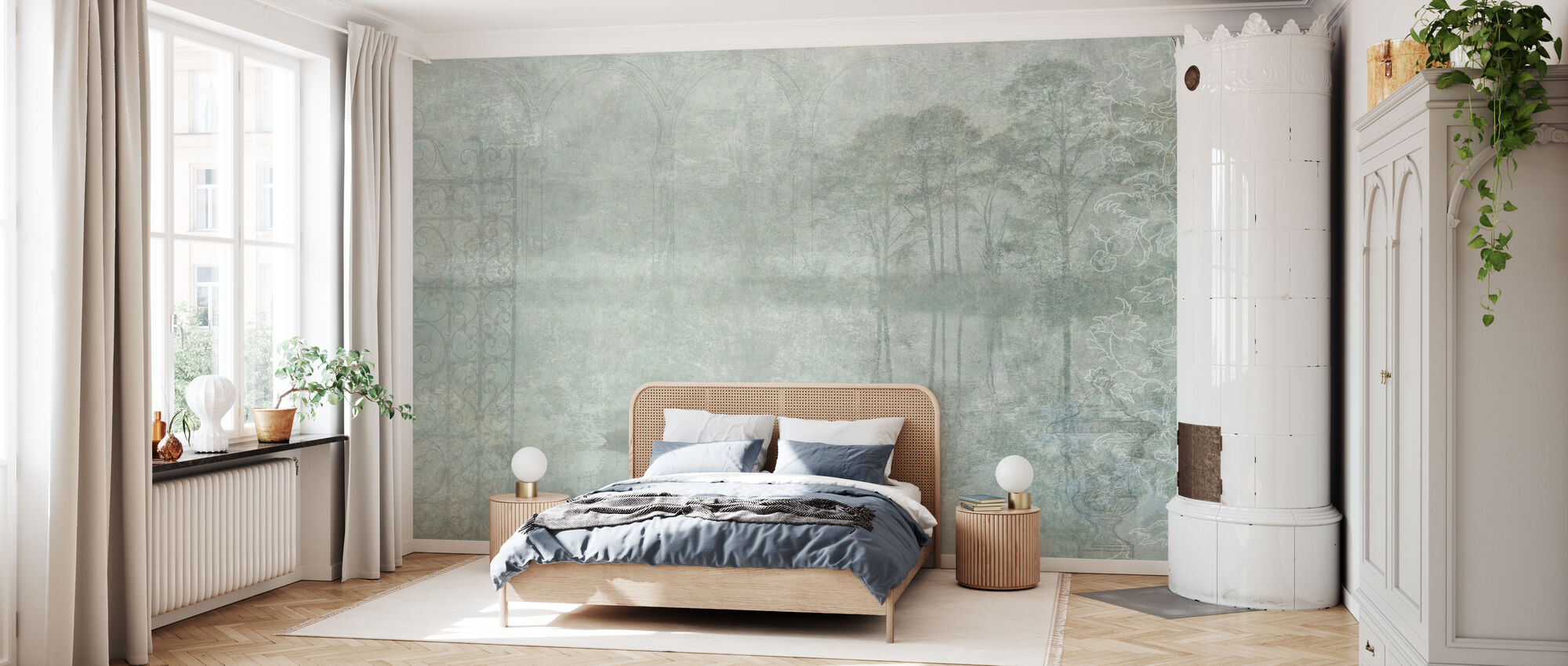 Reminiscence Series Swan - Wallpaper - Bedroom