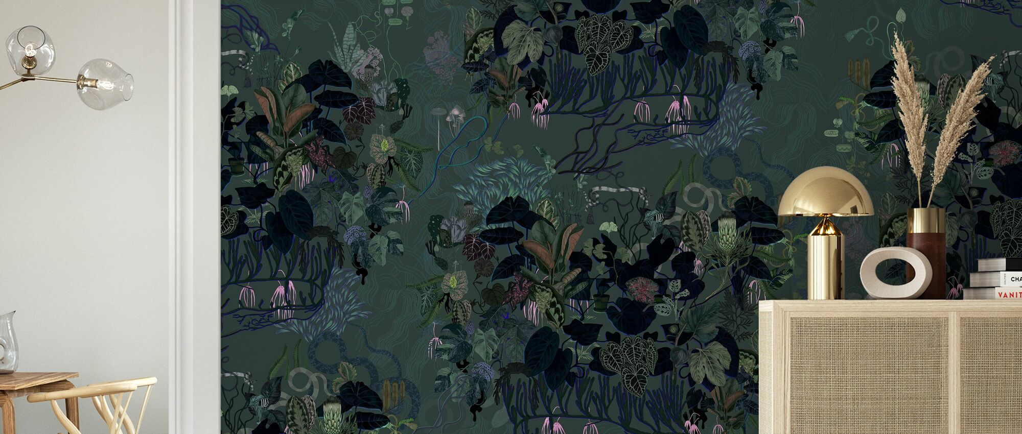 Mörka blad - Tapet - Vardagsrum