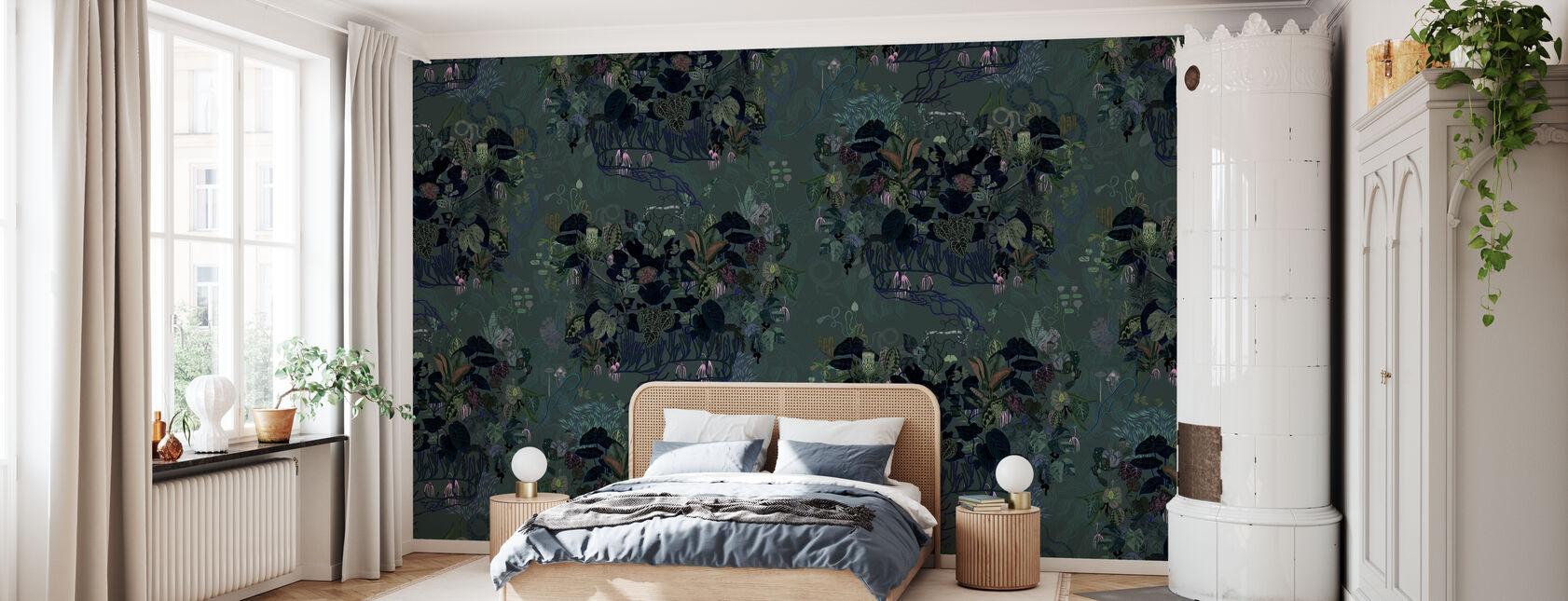 Dunkle Blätter II - Tapete - Schlafzimmer