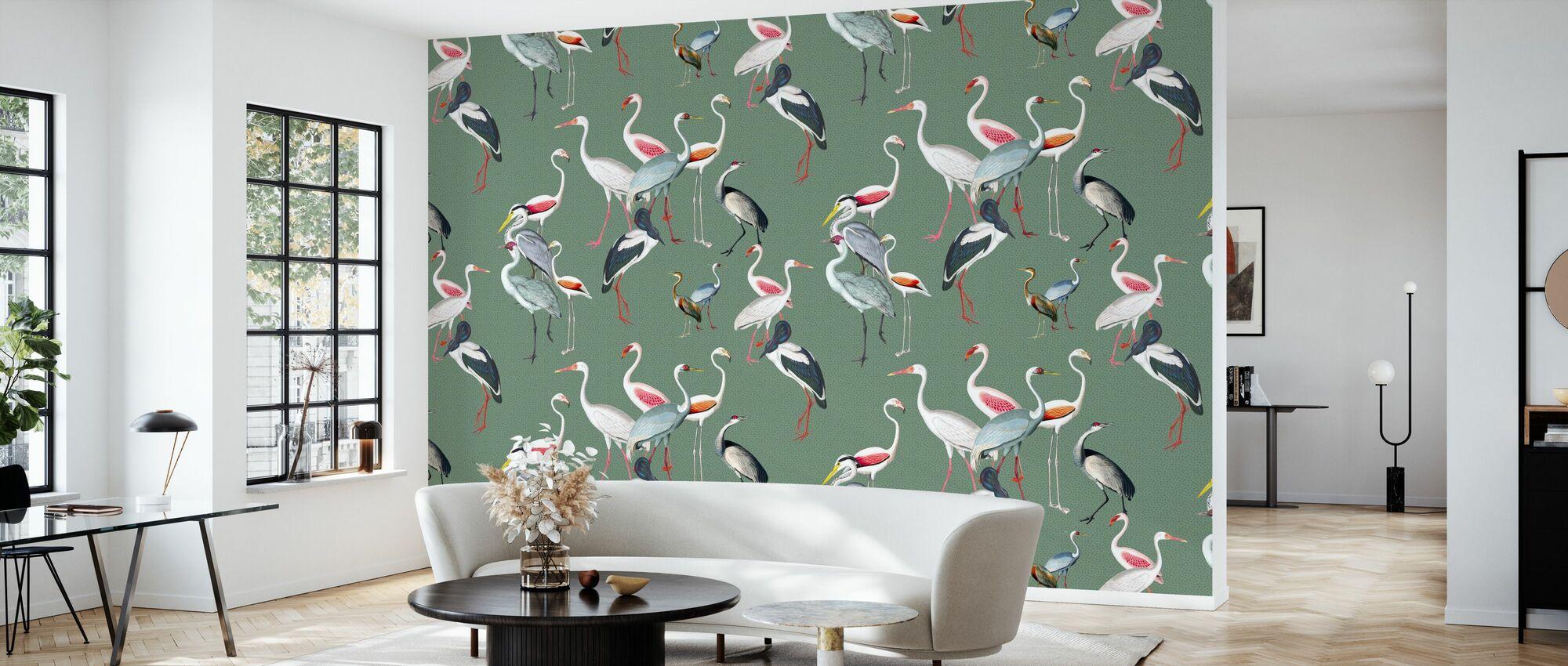 Langhalsvogel Harmony Grün - Tapete - Wohnzimmer