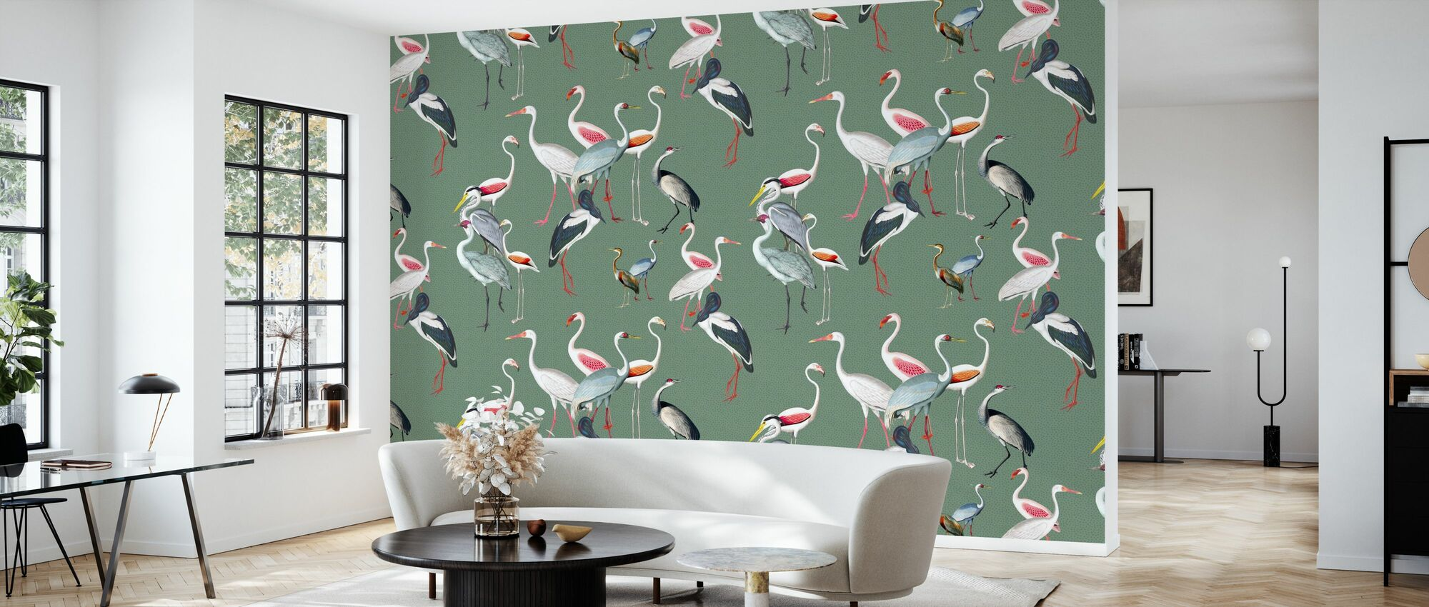 Long Necked Birds Harmony Green - Wallpaper - Living Room