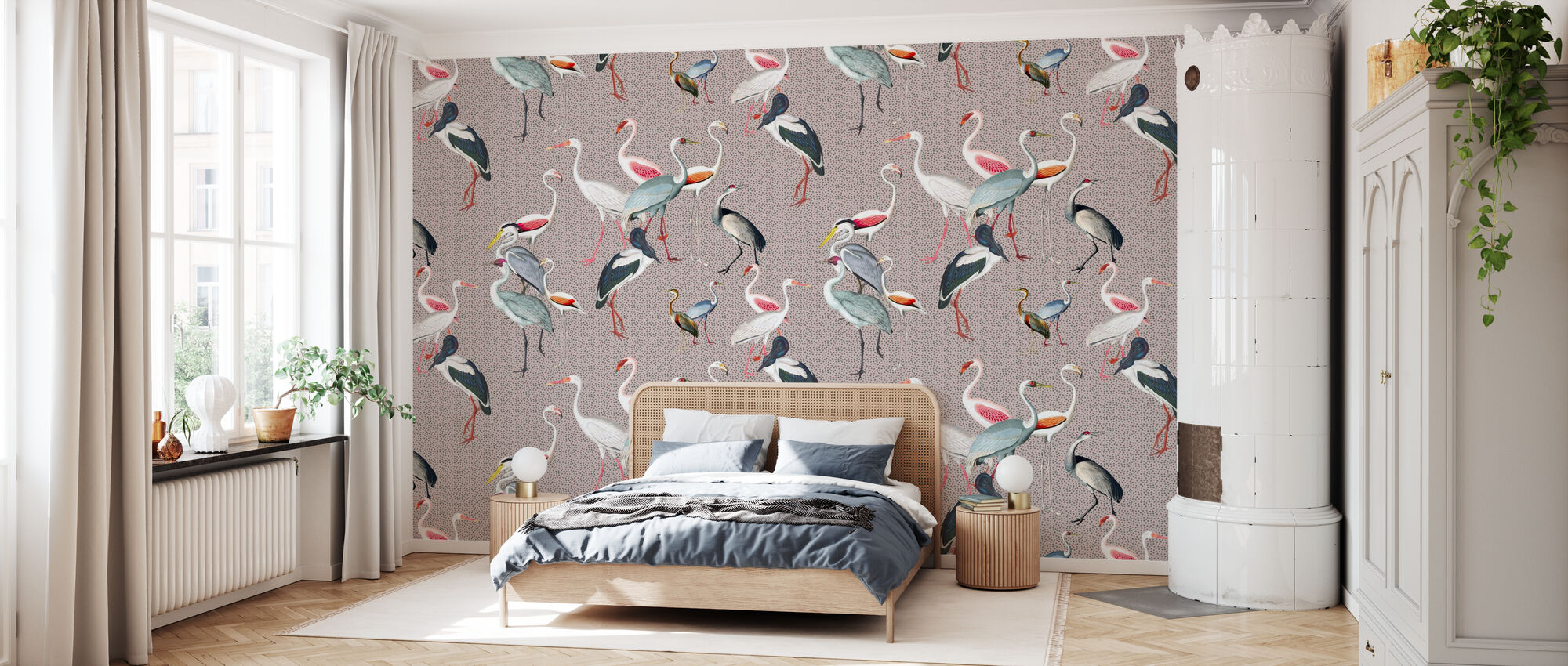 Long Necked Birds Harmony - Wallpaper - Bedroom