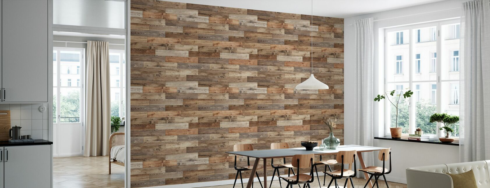 Rustic Joined Wood - Wallpaper - Kitchen