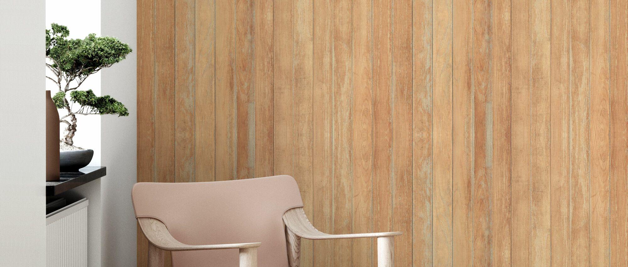 Worn Wooden Panel - Wallpaper - Living Room