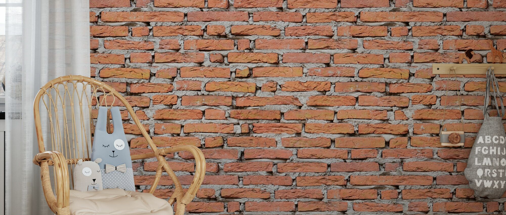 Brick Wall with Strong Joints - Wallpaper - Kids Room