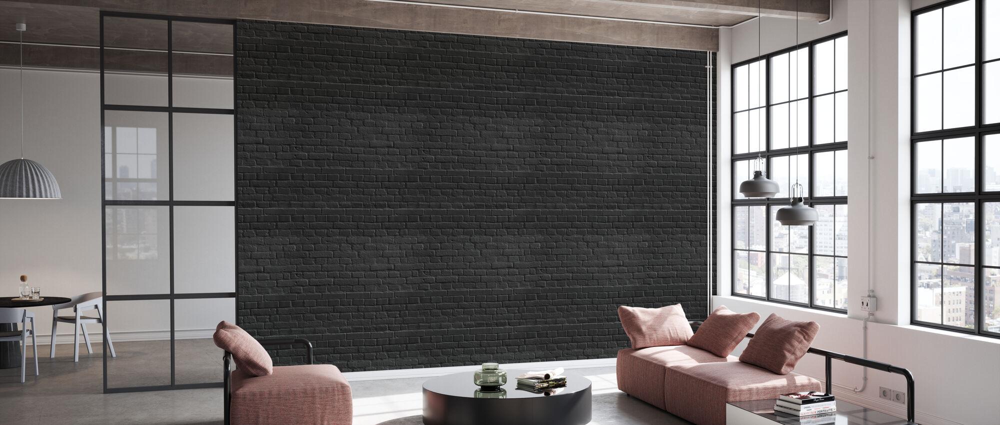 Mur de briques de couleur noire - Papier peint - Bureau
