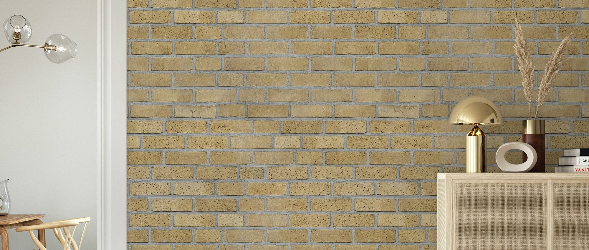 Light Yellow Brick Wall - Wallpaper - Living Room
