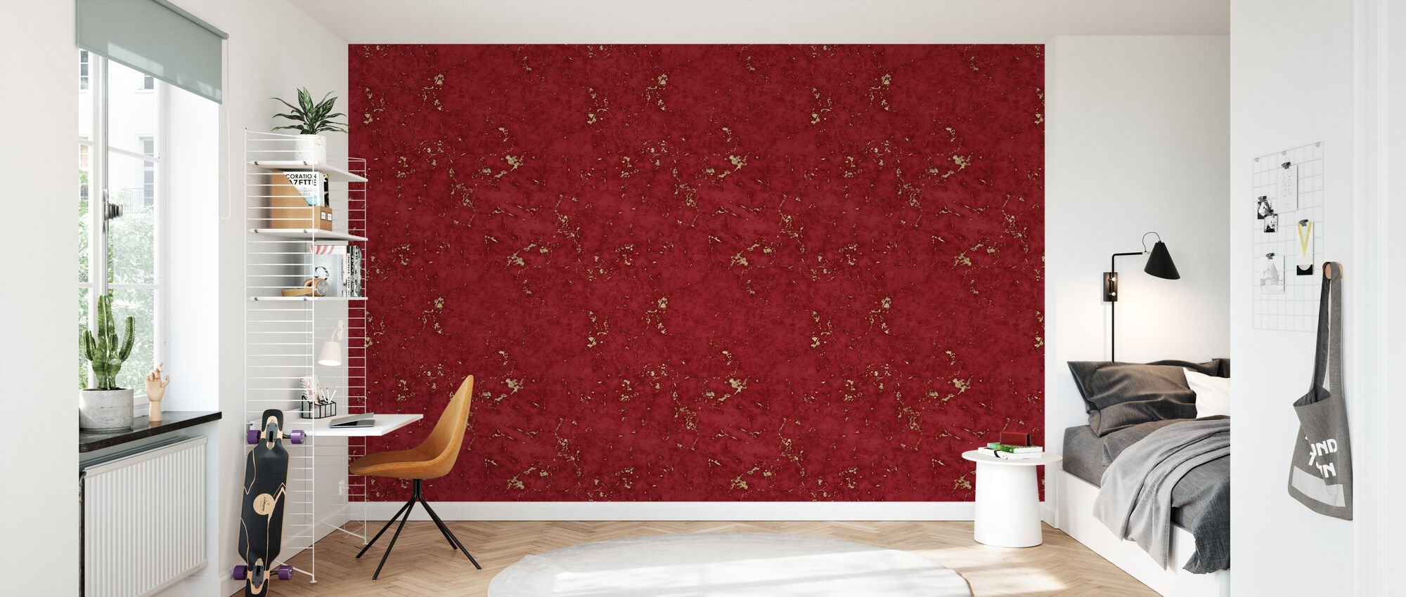Marbre Rouge Damasco Or - Papier peint - Chambre des enfants