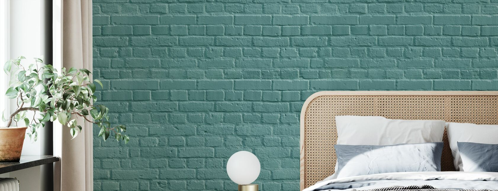 Turquoise Colored Brick Wall - Wallpaper - Bedroom