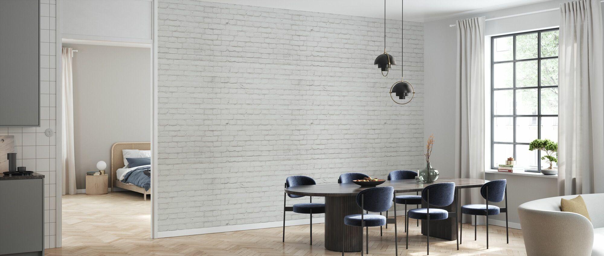White Dusty Brick Wall - Wallpaper - Kitchen