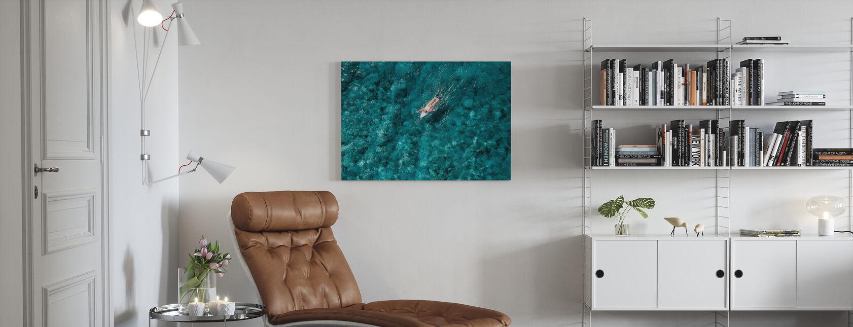 Surf Paddling i havet - Billede på lærred - Stue