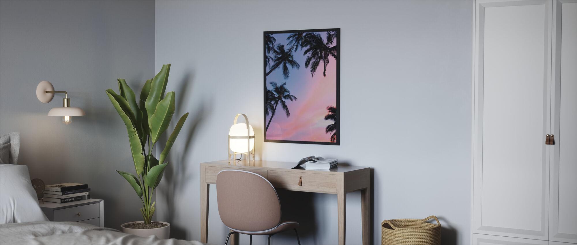 Palme und bunten Himmel - Gerahmtes bild - Schlafzimmer