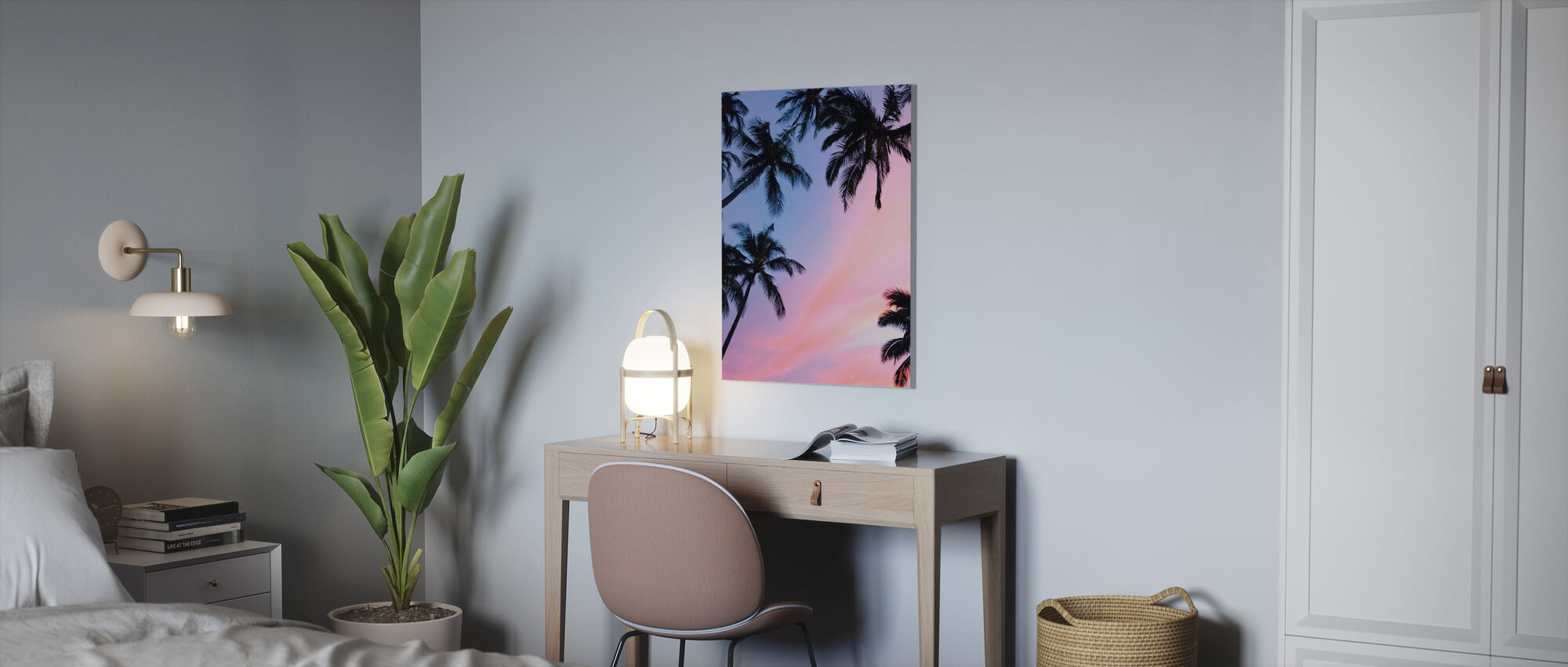 Palm Tree and Colorful Sky - Canvas print - Office