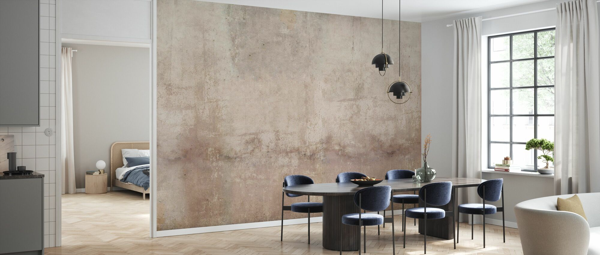 Brown Toned Plaster Wall - Wallpaper - Kitchen