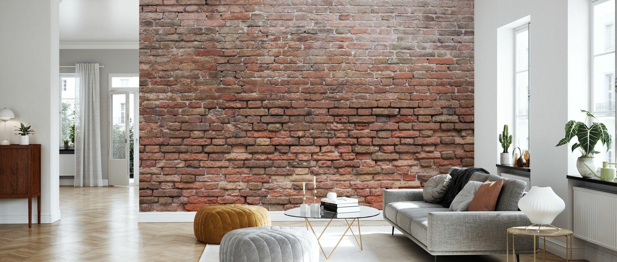 Vervallige bakstenen muur - Behang - Woonkamer