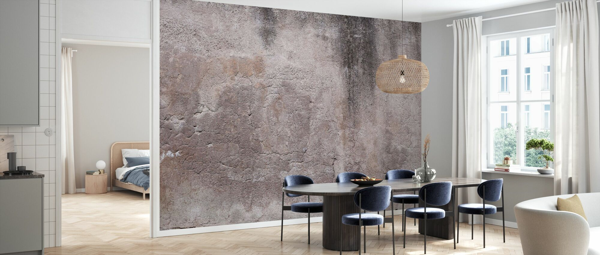 Rose Brown Concrete Wall - Wallpaper - Kitchen
