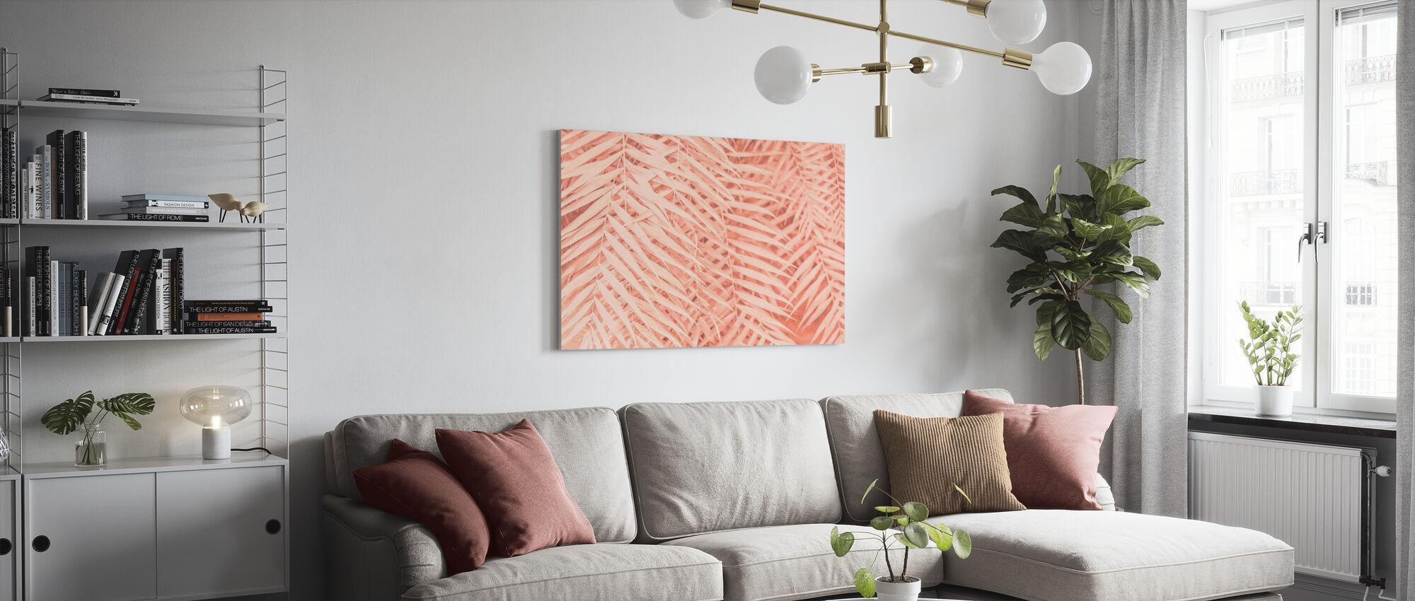 Tafelde tropische palmbladeren - Canvas print - Woonkamer