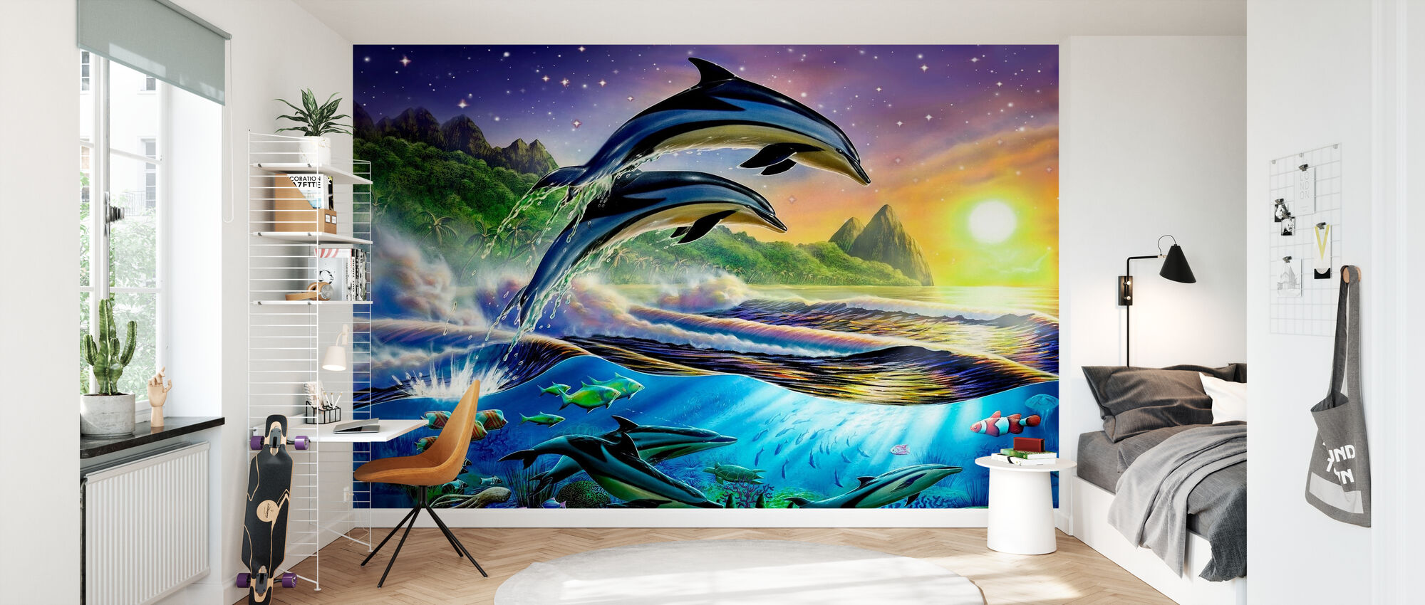 Atlantiske delfiner - Tapet - Børneværelse