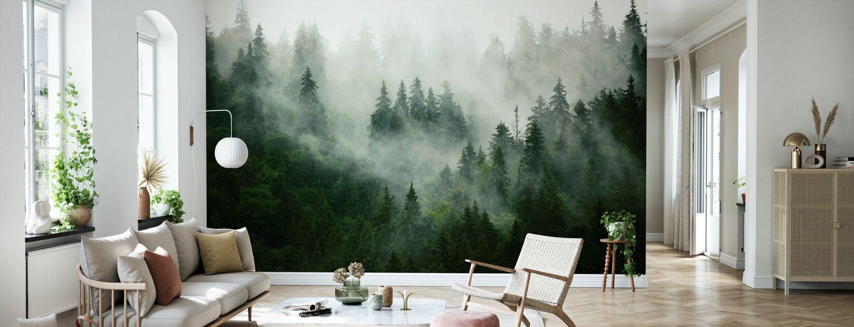 Foggy Forest - Wallpaper - Living Room
