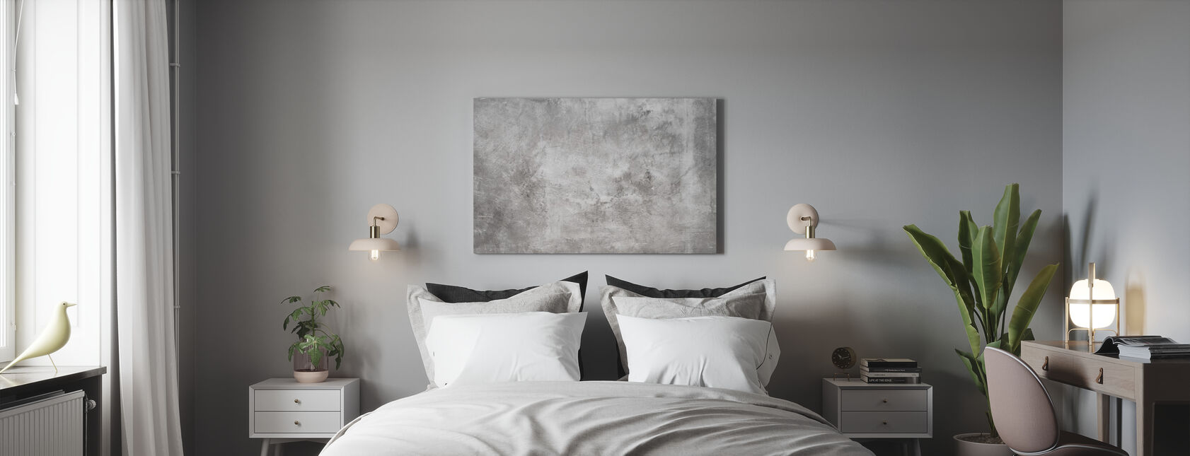 Grungy Rough Concrete Wall - Canvas print - Bedroom