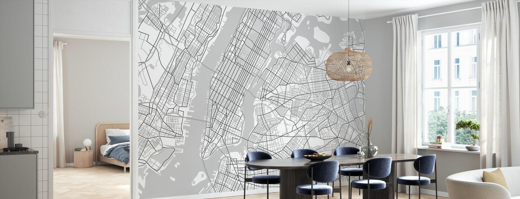 New York Kaart BW - Behang - Keuken