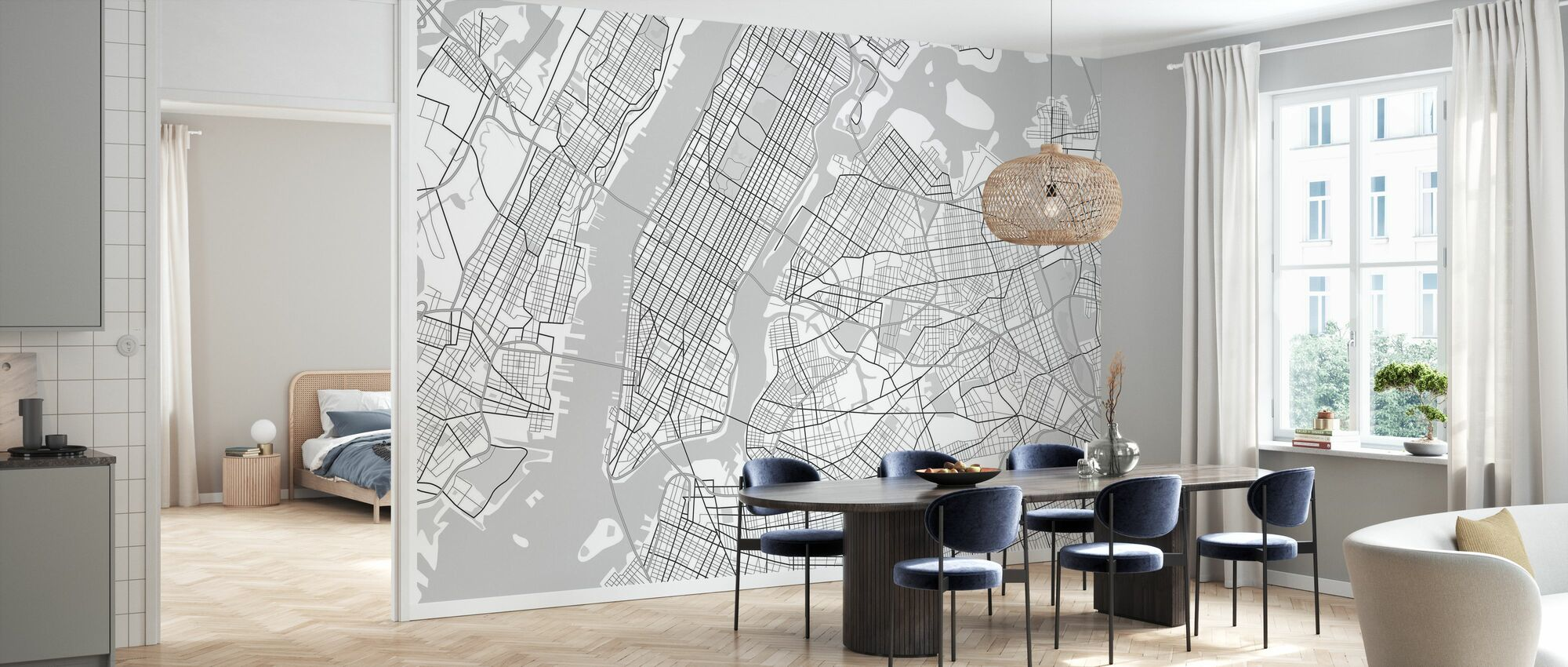 New York Map BW - Wallpaper - Kitchen