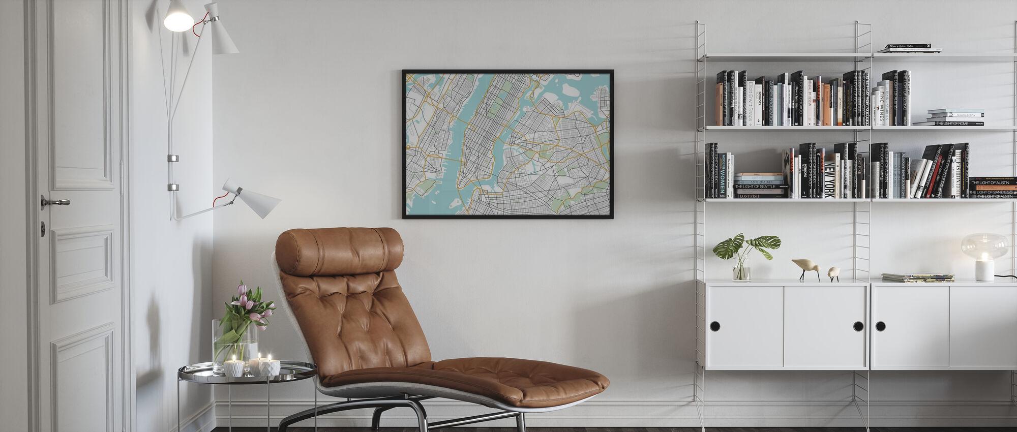 New York Kartta - Kehystetty kuva - Olohuone