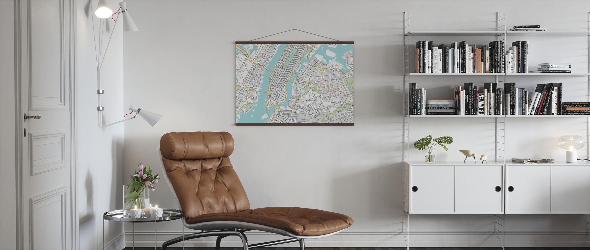 New York Karte - Poster - Wohnzimmer
