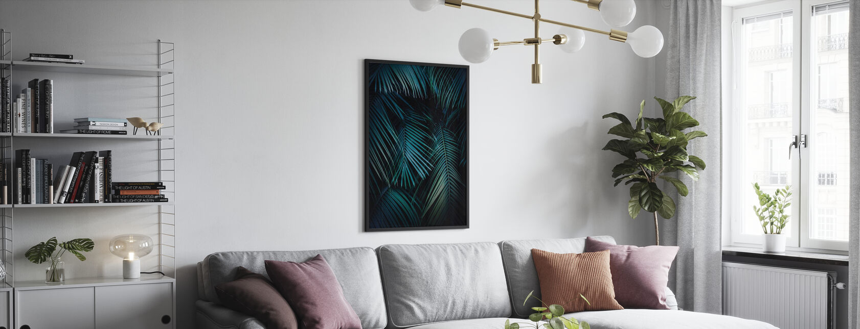 Palm Leaves in the Night - Poster - Living Room