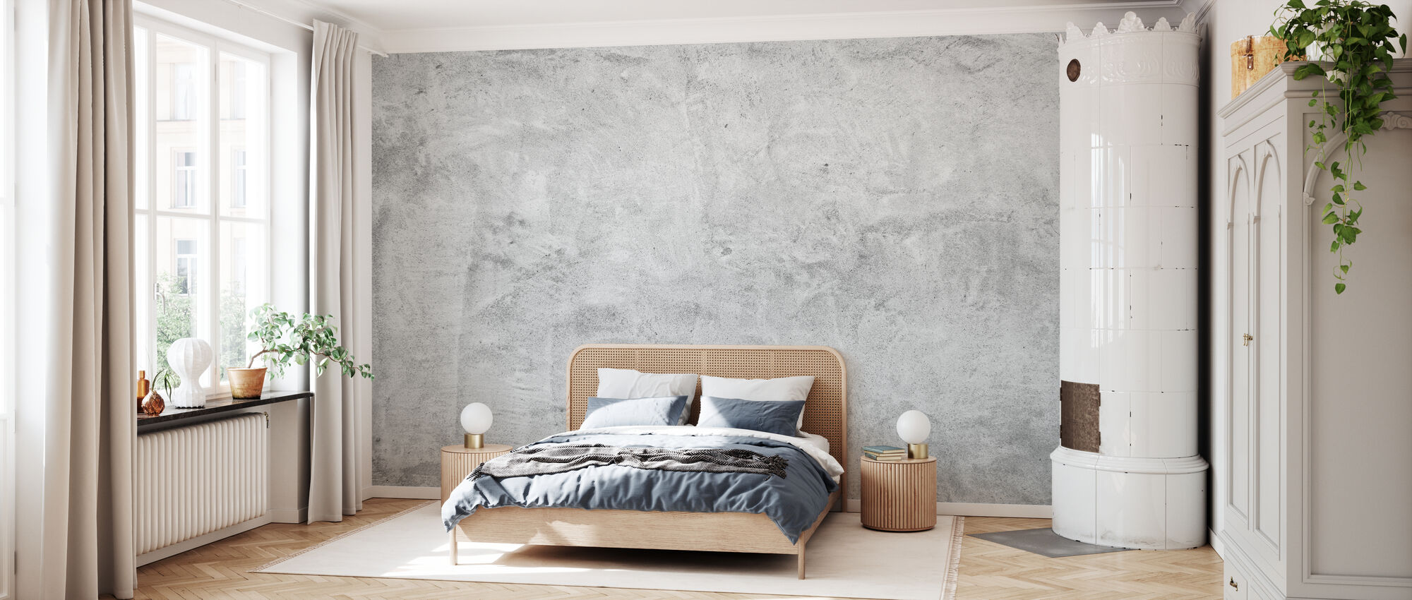 Scrubbed Concrete Wall - Wallpaper - Bedroom