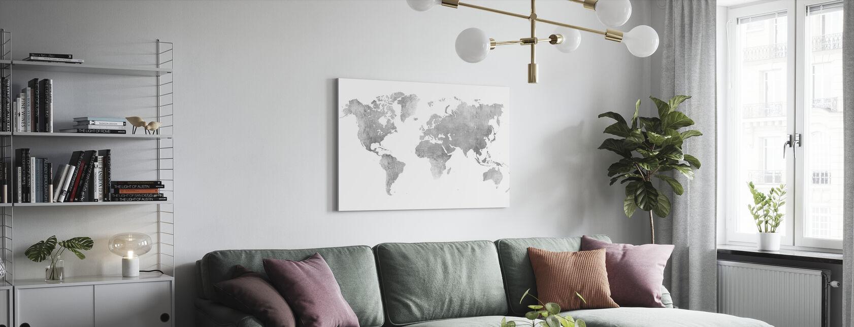 Mapa del mundo Metal cepillado II - Lienzo - Salón