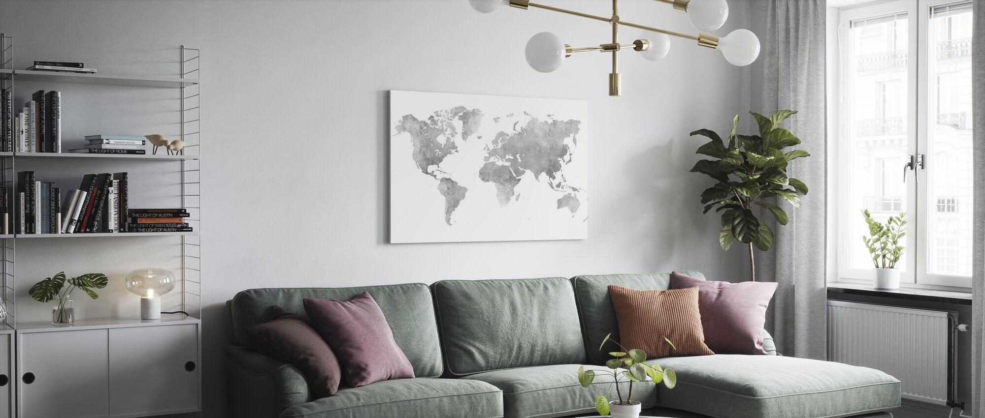 Weltkarte Brushed Metal II - Leinwandbild - Wohnzimmer