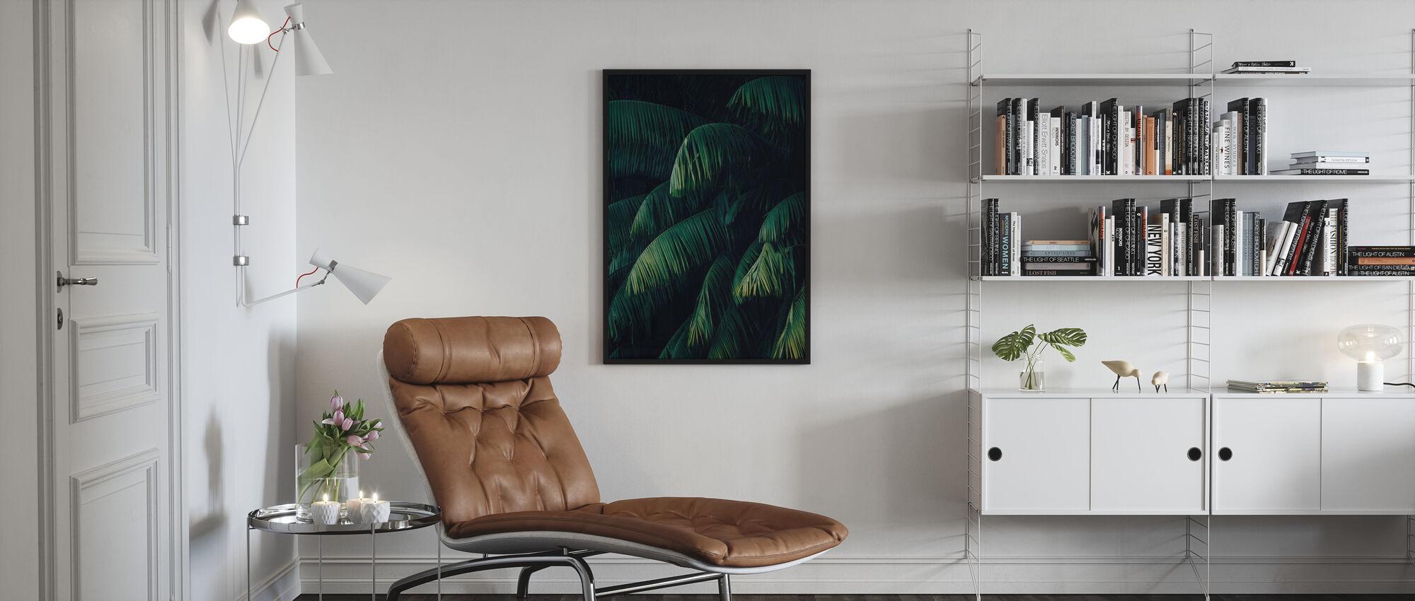Tropikalne liście palmowe - Plakat - Pokój dzienny