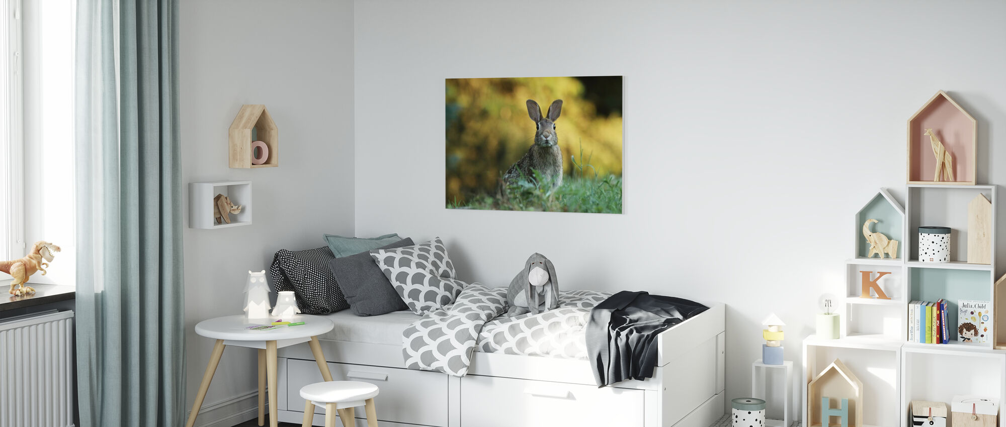 Fluffy Rabbit - Canvas print - Kids Room