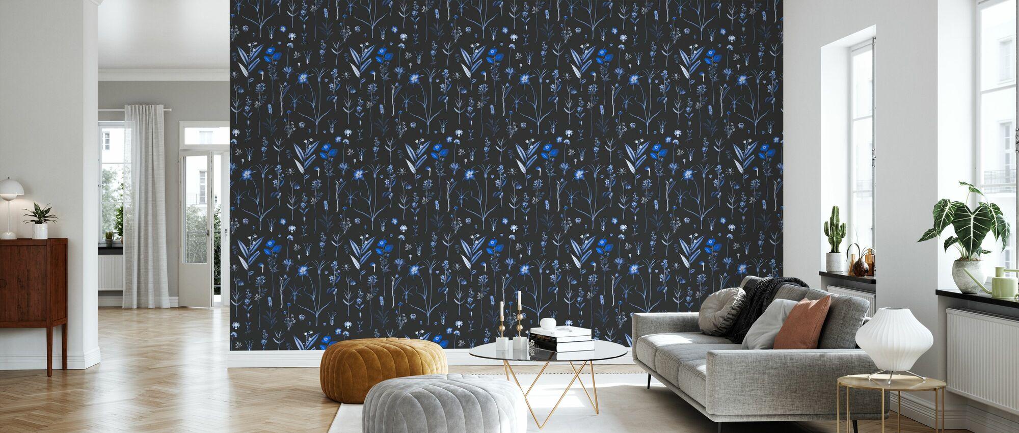 Botanical Morning Blue - Wallpaper - Living Room