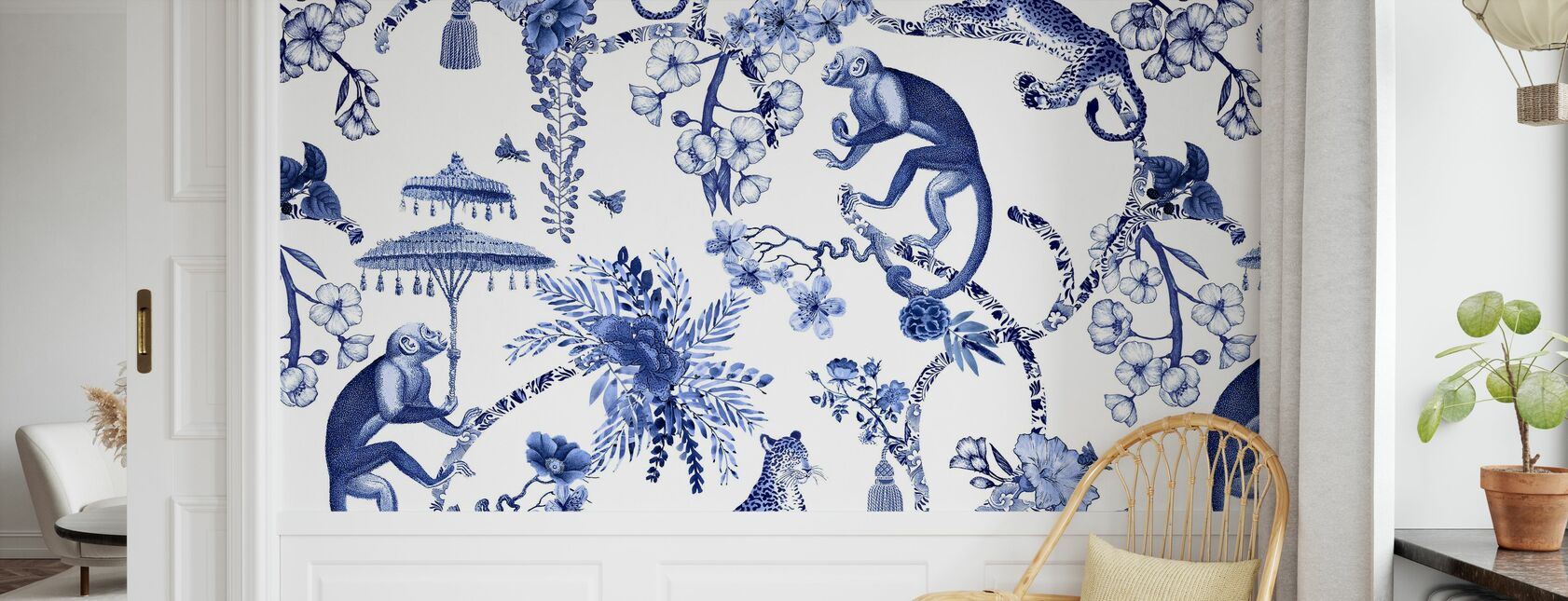 Chinoiserie Whimsy Garden Blue - Wallpaper - Kids Room