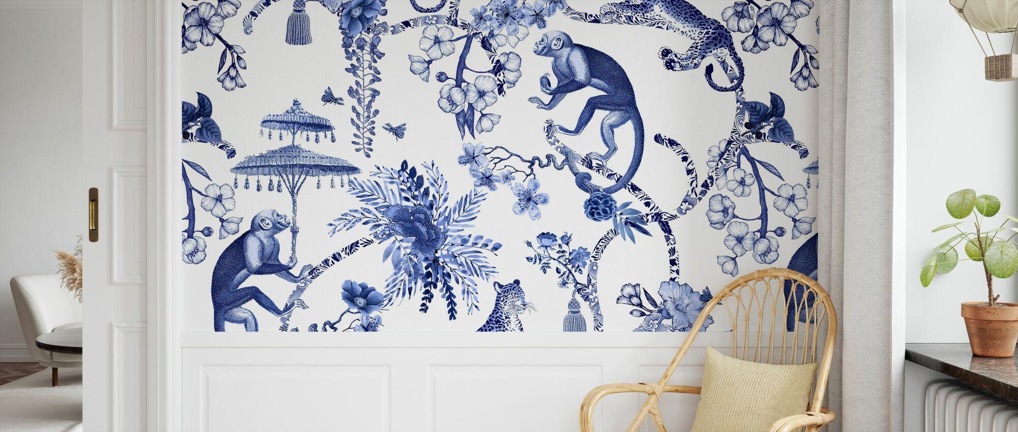 Chinoiserie Whimsy Garden Blue - Wallpaper - Kids Room