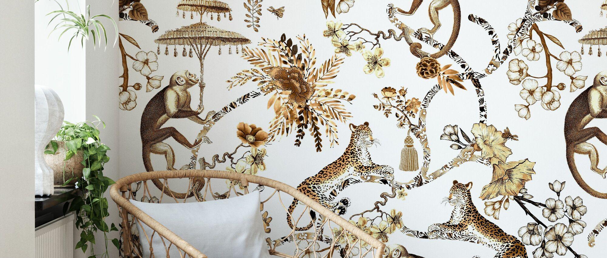 Whimsy Garden Brown Chinoiserie - Wallpaper - Living Room