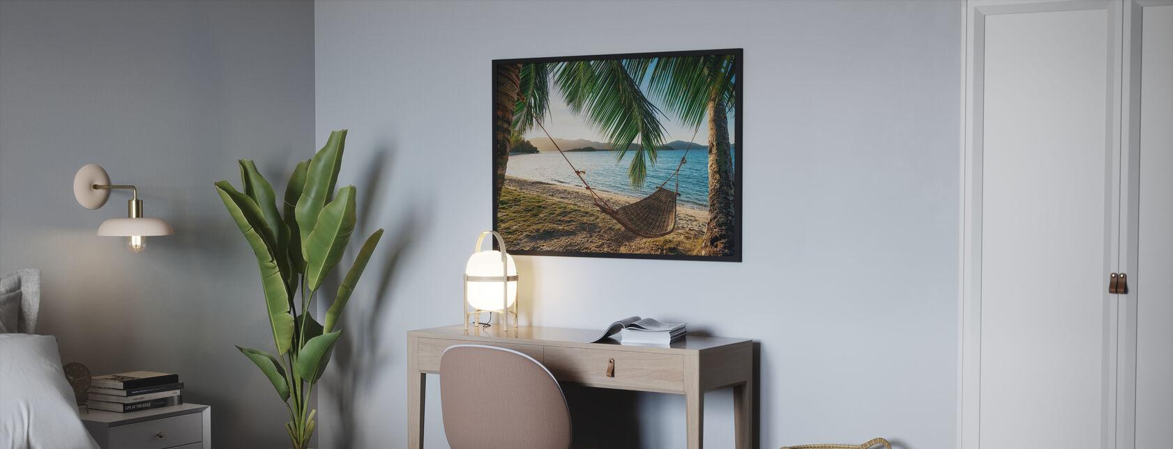 Empty Hammock between Palm Trees - Poster - Bedroom