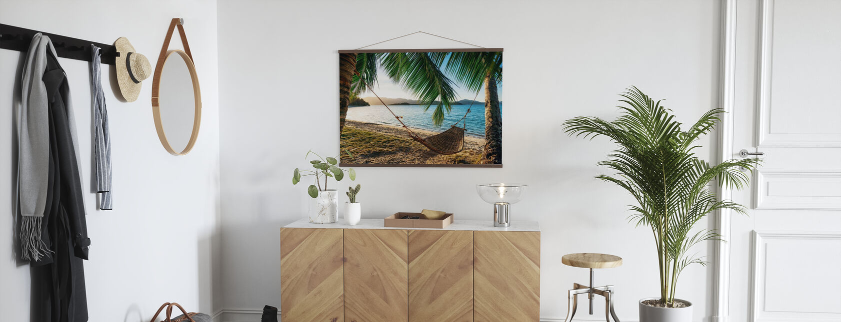 Empty Hammock between Palm Trees - Poster - Hallway