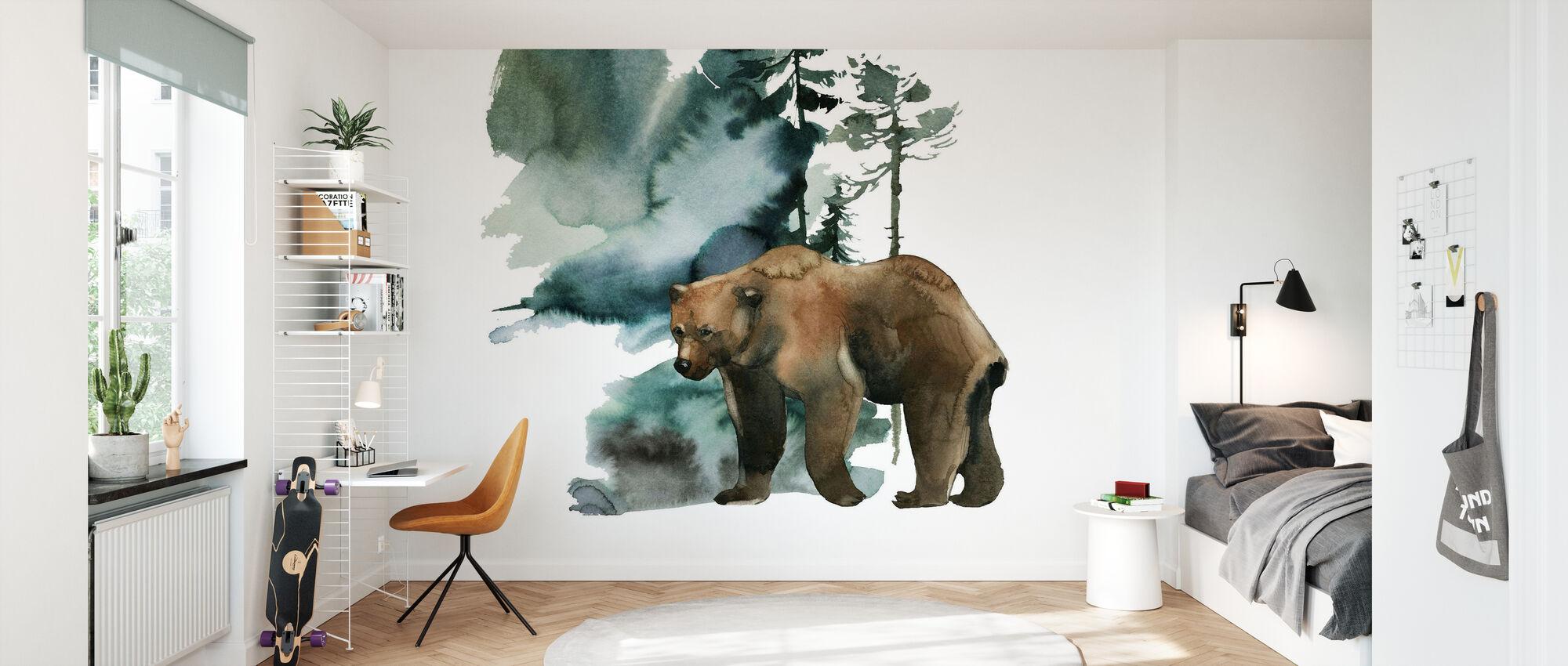 Akvarelli karhunmetsä - Tapetti - Lastenhuone