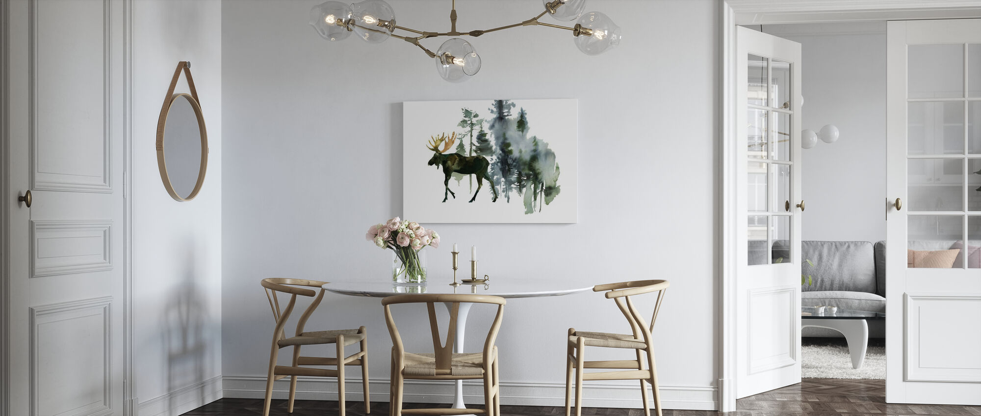 Watercolor Elk in Forest - Canvas print - Kitchen