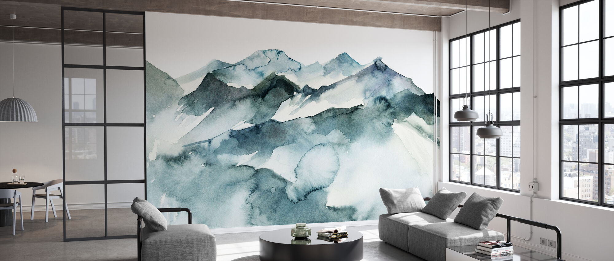 Watercolor Mountains - Wallpaper - Office